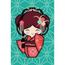 Kit point de croix - Princesse - Kokeshi Yoko