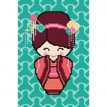 Kit point de croix - Princesse - Kokeshi Hanae