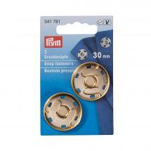 Boutons pression - Prym - 2 boutons pression à coudre coloris or - 30 mm