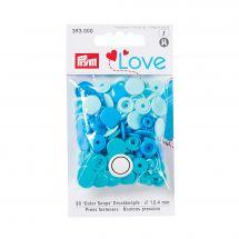 Boutons pression - Prym - 30 boutons à riveter bleu clair / bleu moyen / bleu foncé - 12.4 mm