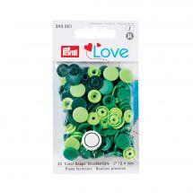 Boutons pression - Prym - 30 boutons à riveter vert clair / vert moyen / vert foncé - 12.4 mm