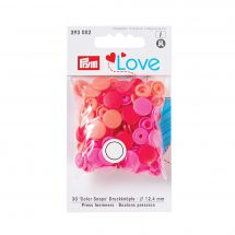 Boutons pression - Prym - 30 boutons à riveter corail / rose / rouge - 12.4 mm