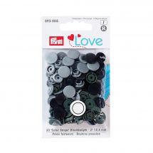 Boutons pression - Prym - 30 boutons à riveter gris clair / kaki / noir - 12.4 mm