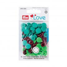 Boutons pression - Prym - 30 boutons à riveter marron / vert clair / vert foncé - 12.4 mm