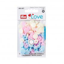 Boutons pression - Prym - 30 boutons à riveter jaune pâle / bleu pâle / rose pâle - 12.4 mm