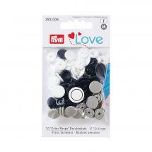 Boutons pression - Prym - 30 boutons à riveter gris clair / noir / blanc - 12.4 mm