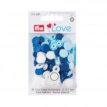 Boutons pression - Prym - 30 boutons à riveter bleu clair / bleu foncé / blanc - 12.4 mm