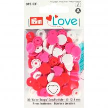 Boutons pression - Prym - 30 boutons coeurs - 12.4 mm