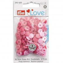 Boutons pression - Prym - 36 boutons ronds roses - 9 mm