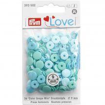 Boutons pression - Prym - 36 boutons ronds bleu-vert - 9 mm