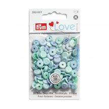 Boutons pression - Prym - 36 boutons à riveter 9 mm bleu / bleu clair / turquoise clair