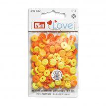 Boutons pression - Prym - 36 boutons à riveter 9 mm jaune / orange clair / orange foncé