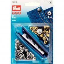 Oeillets et rivets - Prym - Rivets laiton coloris argent et acier - 9 mm