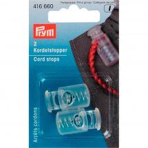 Embouts - Prym - 2 arrêts cordons 1 trou - Transparent 2.5 cm