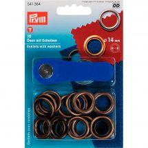 Oeillets et rivets - Prym - 10 oeillets et rondelles + outil à percer