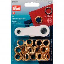 Oeillets et rivets - Prym - 15 oeillets coloris or - 11 mm