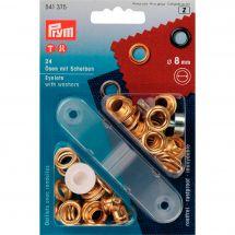 Oeillets et rivets - Prym - 24 oeillets coloris or - 8 mm
