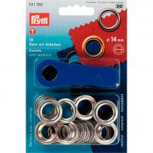 Oeillets et rivets - Prym - 10 oeillets coloris argent - 14 mm