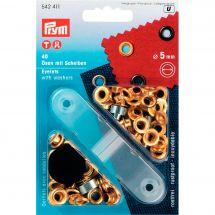 Oeillets et rivets - Prym - 40 oeillets coloris or - 5 mm