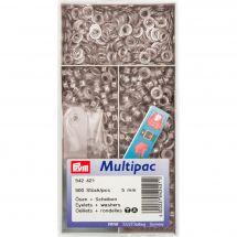 Oeillets et rivets - Prym - 500 Oeillets coloris laiton argenté - 5 mm