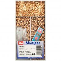 Oeillets et rivets - Prym - 500 Oeillets coloris laiton doré - 5 mm