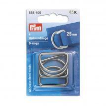 Accessoire pour sac - Prym - Anneaux en D - 25 mm argent foncé