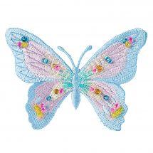 Ecusson thermocollant - Prym - Papillon rose et bleu avec perles