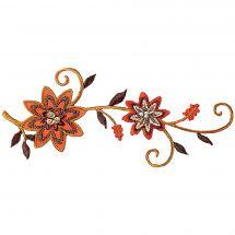 Ecusson thermocollant - Prym - Fleur orange avec perles