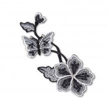 Ecusson thermocollant - Prym - Fleur et papillon gris