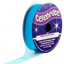 Organza en bobine - Celebrate - Organza bleu uni - 12 mm x 6 m