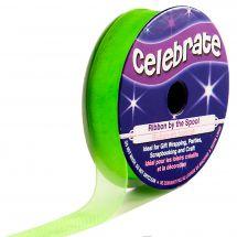 Organza en bobine - Celebrate - Organza vert clair uni - 12 mm x 6 m