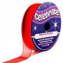 Organza en bobine - Celebrate - Organza rouge uni - 12 mm x 6 m