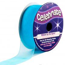 Organza en bobine - Celebrate - Organza bleu uni - 20 mm x 5 m