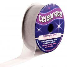 Organza en bobine - Celebrate - Organza gris clair/transparent - 20 mm x 5 m