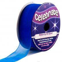 Queue de Rat en bobine - Celebrate - Bleu moyen uni- 20 mm x 5 m