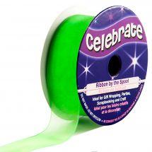 Organza en bobine - Celebrate - Organza vert clair uni - 20 mm x 5 m