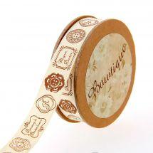 Ruban coton en bobine - Celebrate - Ruban coton écru imprimé étiquettes - 15 mm x 5 m