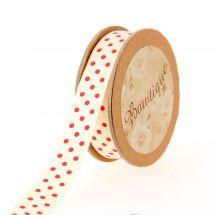 Ruban coton en bobine - Bowtique - Ruban coton écru imprimé pois rouges - 15 mm x 5 m