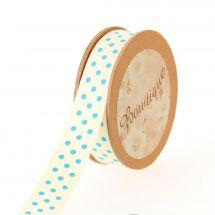 Ruban coton en bobine - Bowtique - Ruban coton écru imprimé pois bleus - 15 mm x 5 m