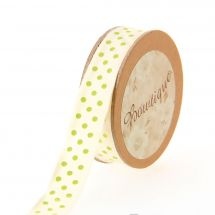 Ruban coton en bobine - Bowtique - Ruban coton écru imprimé pois verts - 15 mm x 5 m