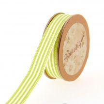Ruban coton en bobine - Bowtique - Ruban coton écru imprimé rayures blanches/vertes- 15 mm x 5 m