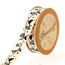 Ruban coton en bobine - Bowtique - Ruban coton écru imprimé oiseaux noires sur branche - 15 mm x 5 m