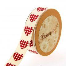 Ruban coton en bobine - Bowtique - Ruban coton écru imprimé coeurs rouges et blancs - 15 mm x 5 m