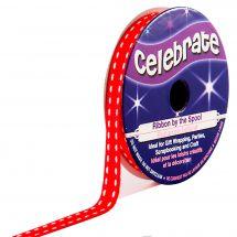 Gros Grain en bobine - Celebrate - Gros Grain rouge couture blanche - 6 mm x 5 m