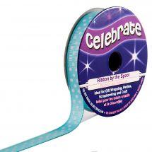 Ruban coton en bobine - Celebrate - Gros Grain bleu ciel à pois blanc - 9 mm x 5 m