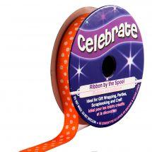 Ruban coton en bobine - Celebrate - Gros Grain orange à pois blanc - 9 mm x 5 m