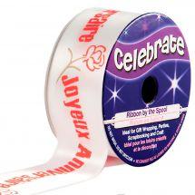 Satin en bobine - Celebrate - Satin blanc imprimé rouge Joyeux Anniversaire - 25 mm x 3 m