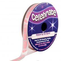 """Satin en bobine - Celebrate - Satin blanc imprimé rose """"C'est une fille"""" - 10 mm x 4 m"""