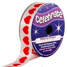 Satin en bobine - Celebrate - Satin blanc imprimé coeur rouge - 16 mm x 4 m