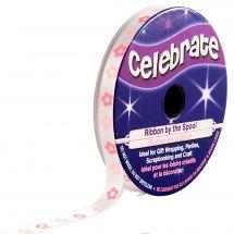 Satin en bobine - Celebrate - Satin blanc imprimé fleur rose - 6 mm x 4 m